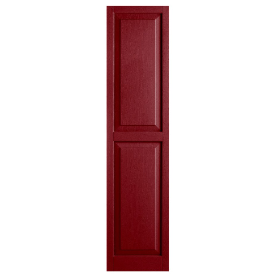 Alpha 2-Pack Cranberry Raised Panel Vinyl Exterior Shutters (Common: 15-in x 55-in; Actual: 14.75-in x 54.13-in)