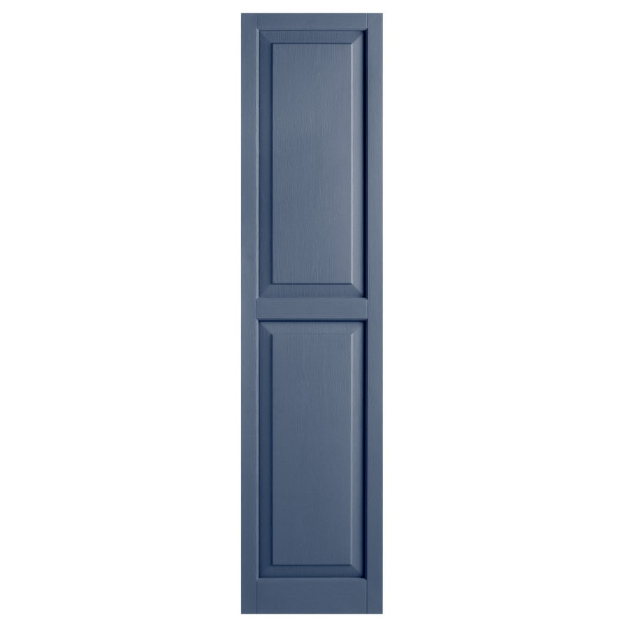 Alpha 2-Pack Blue Raised Panel Vinyl Exterior Shutters (Common: 15-in x 63-in; Actual: 14.75-in x 62.19-in)