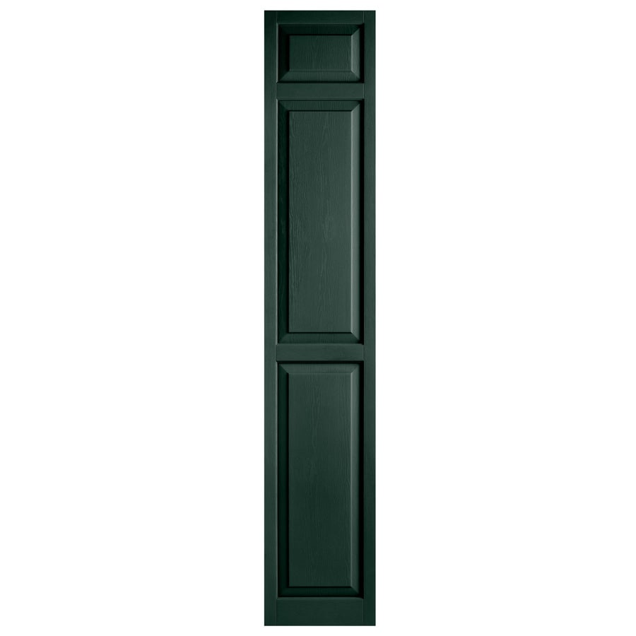 Alpha 2-Pack Pine Raised Panel Vinyl Exterior Shutters (Common: 15-in x 81-in; Actual: 14.75-in x 80.06-in)