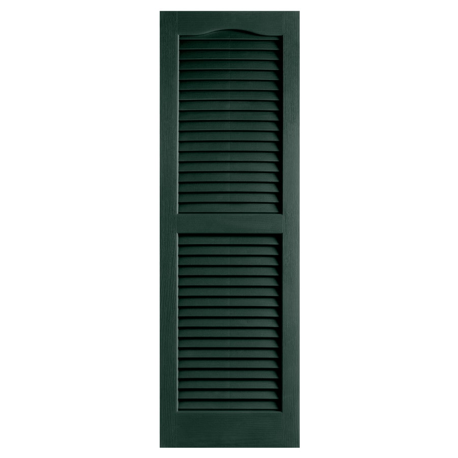 Alpha 2-Pack Pine Louvered Vinyl Exterior Shutters (Common: 14-in x 25-in; Actual: 13.75-in x 24.88-in)