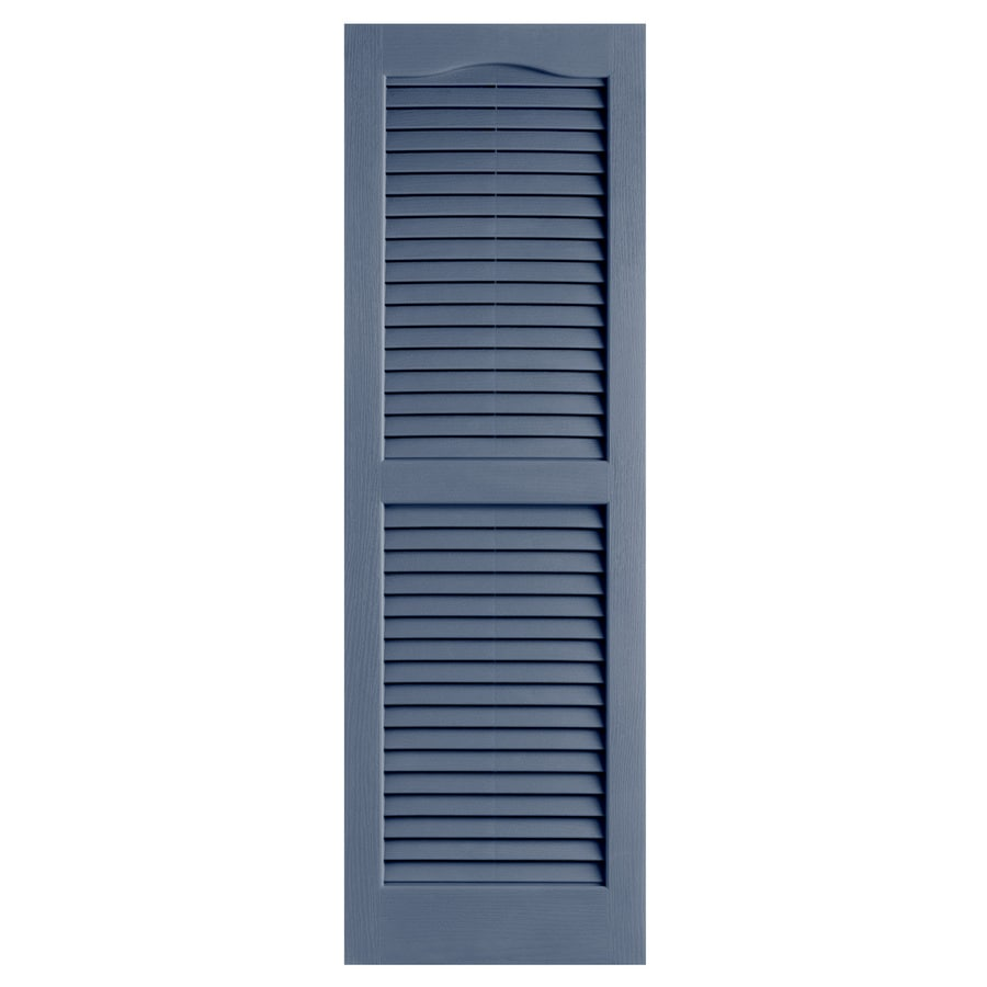 Alpha 2-Pack Blue Louvered Vinyl Exterior Shutters (Common: 14-in x 39-in; Actual: 13.75-in x 38.94-in)