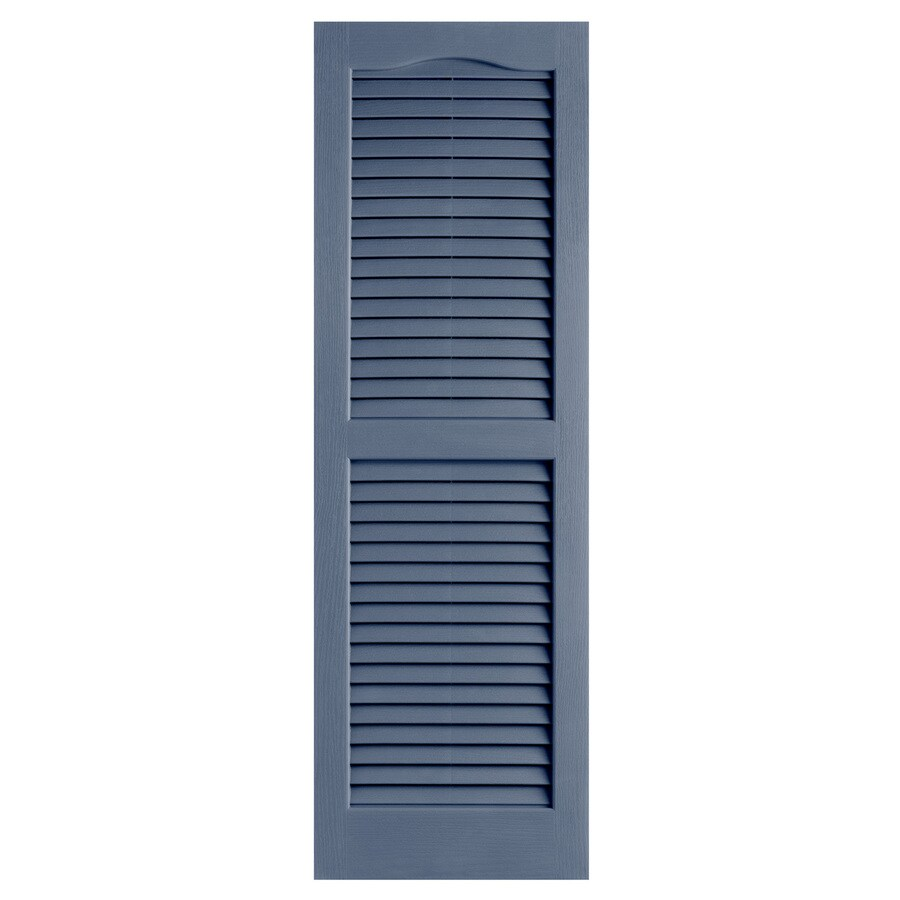 Alpha 2-Pack Blue Louvered Vinyl Exterior Shutters (Common: 14-in x 43-in; Actual: 13.75-in x 42.94-in)