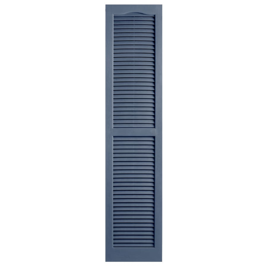 Alpha 2-Pack Blue Louvered Vinyl Exterior Shutters (Common: 14-in x 55-in; Actual: 13.75-in x 54.94-in)