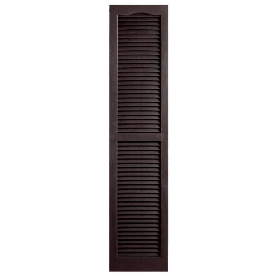 Alpha 2-Pack Chocolate Louvered Vinyl Exterior Shutters (Common: 14-in x 63-in; Actual: 13.75-in x 62.19-in)