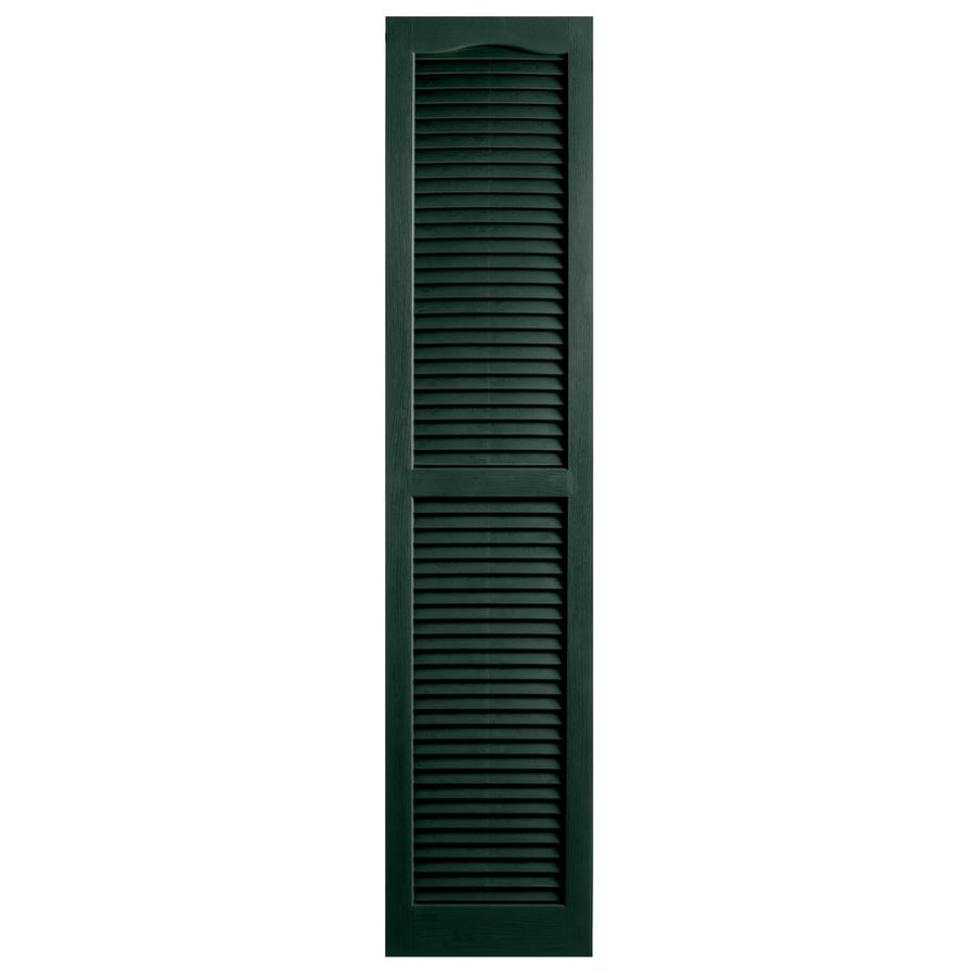 Alpha 2-Pack Pine Louvered Vinyl Exterior Shutters (Common: 14-in x 81-in; Actual: 13.75-in x 80-in)