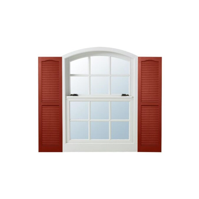 Alpha 2 Pack Red Louvered Vinyl Exterior Shutters Common 15 In X 39 In Actual 14 5 In X 38 5