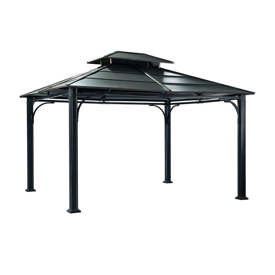 Shop Sunjoy Black Steel Rectangle Permanent Gazebo