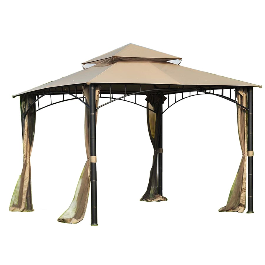 Shop Sunjoy Brown Square Gazebo Foundation 10 Ft X 10 Ft
