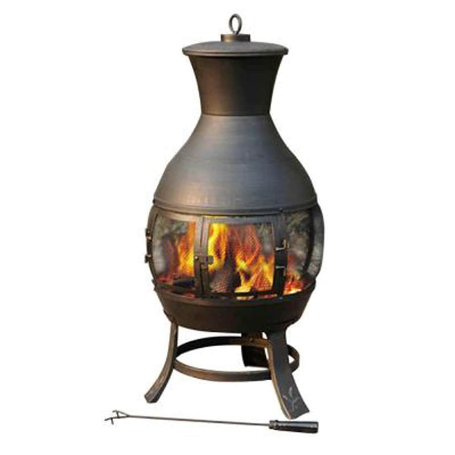 Sunjoy 45 3 In H X 21 In D X 21 In W Black Steel Chiminea
