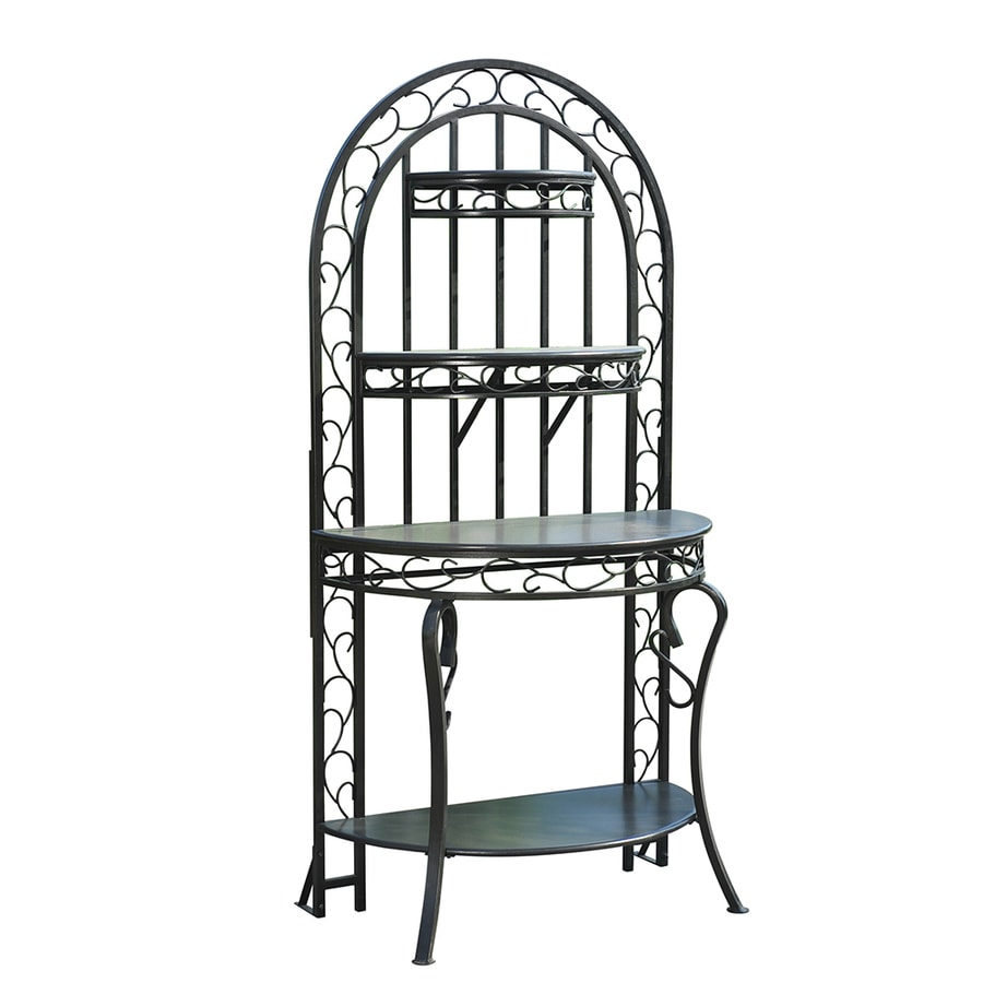 Sunjoy 72.8-in Black Indoor/Outdoor Half-Round Steel Plant Stand