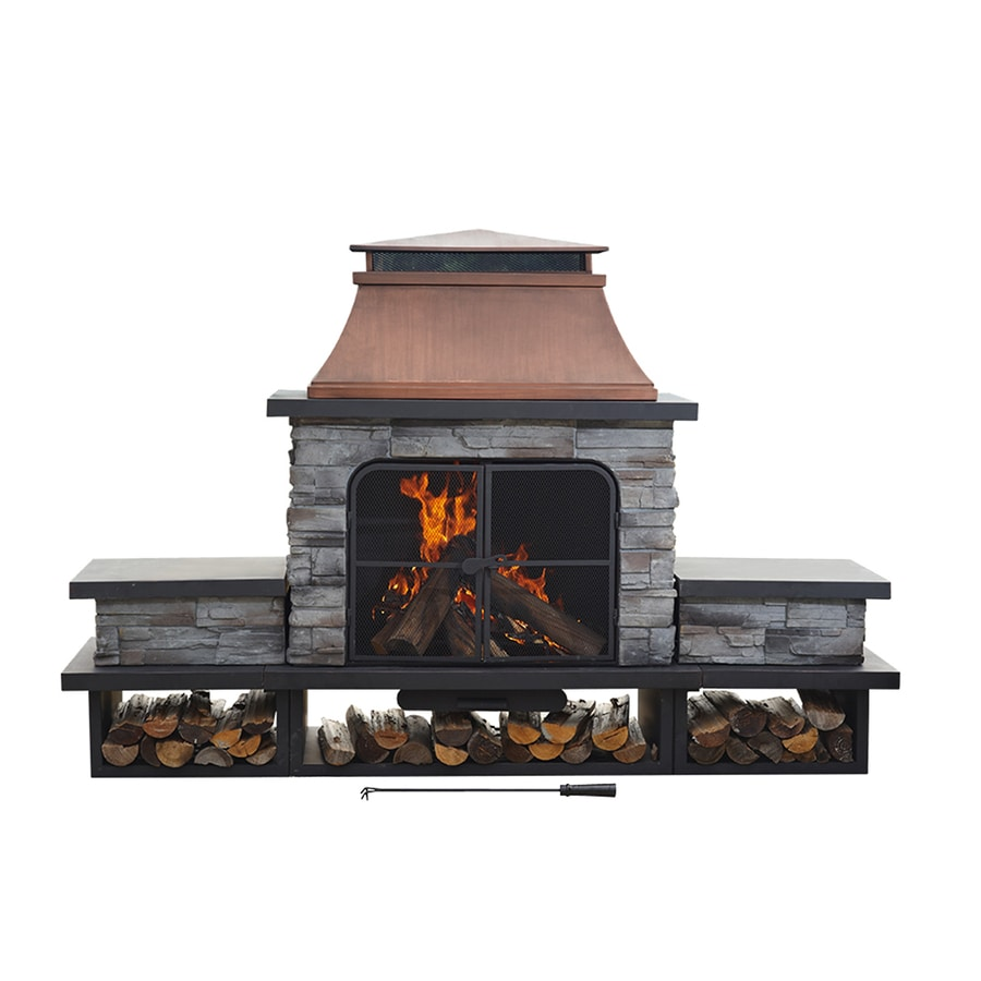 Sunjoy Black Steel Outdoor Wood Burning Fireplace At Lowes Com