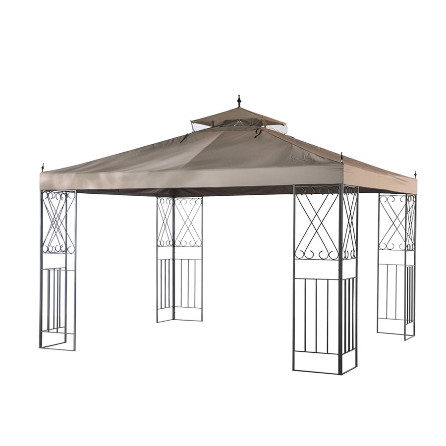 Shop sunjoy brown rectangle gazebo foundation 9 8 ft x 11 8 ft at - Build rectangular gazebo guide models ...