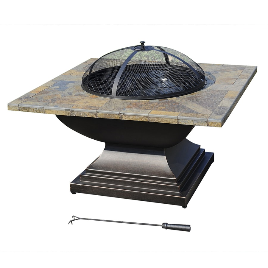 Sunjoy 36-in W Black Steel Wood-Burning Fire Pit