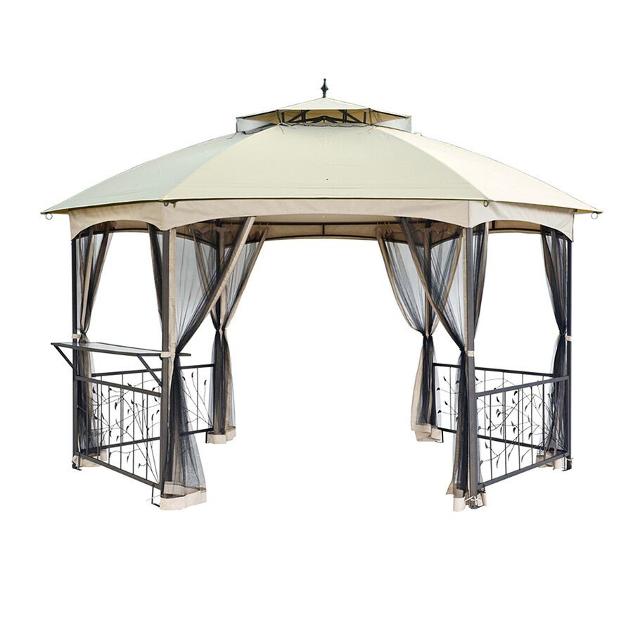 Sunjoy Brown Hexagon Gazebo (Foundation: 12.6-ft x 14.6-ft)