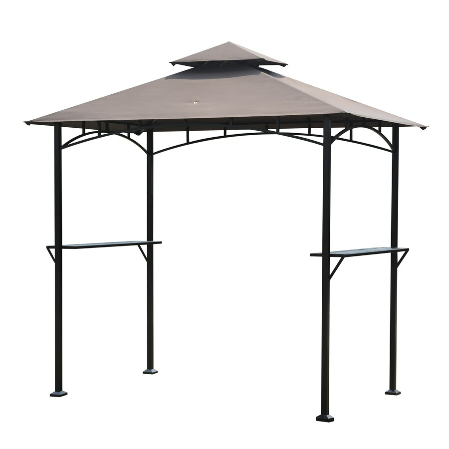 Shop Sunjoy Black Rectangle Grill Gazebo (Foundation: 4.98 ...