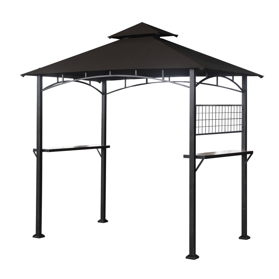Shop sunjoy capri black steel rectangle grill gazebo exterior 5 1 ft x 8 ft foundation 8 ft - Build rectangular gazebo guide models ...