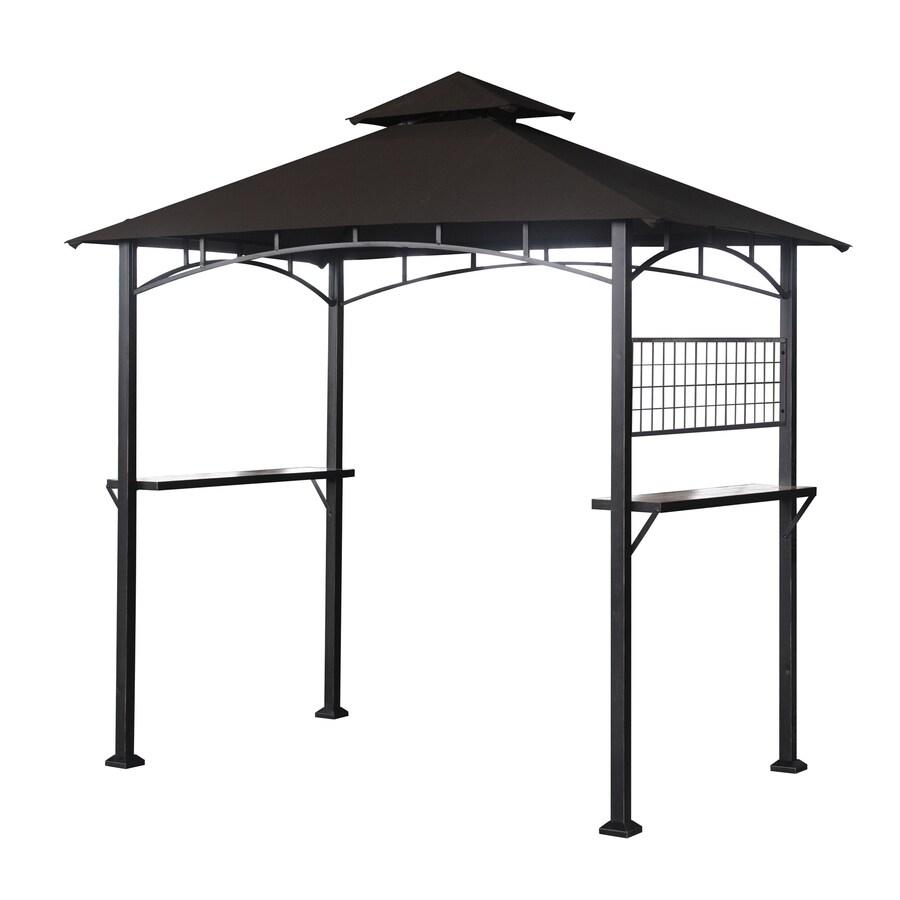 Sunjoy Capri Black Steel Rectangle Grill Gazebo (Exterior: 5.1-ft x 8-ft; Foundation: 8-ft x 5.1-ft)