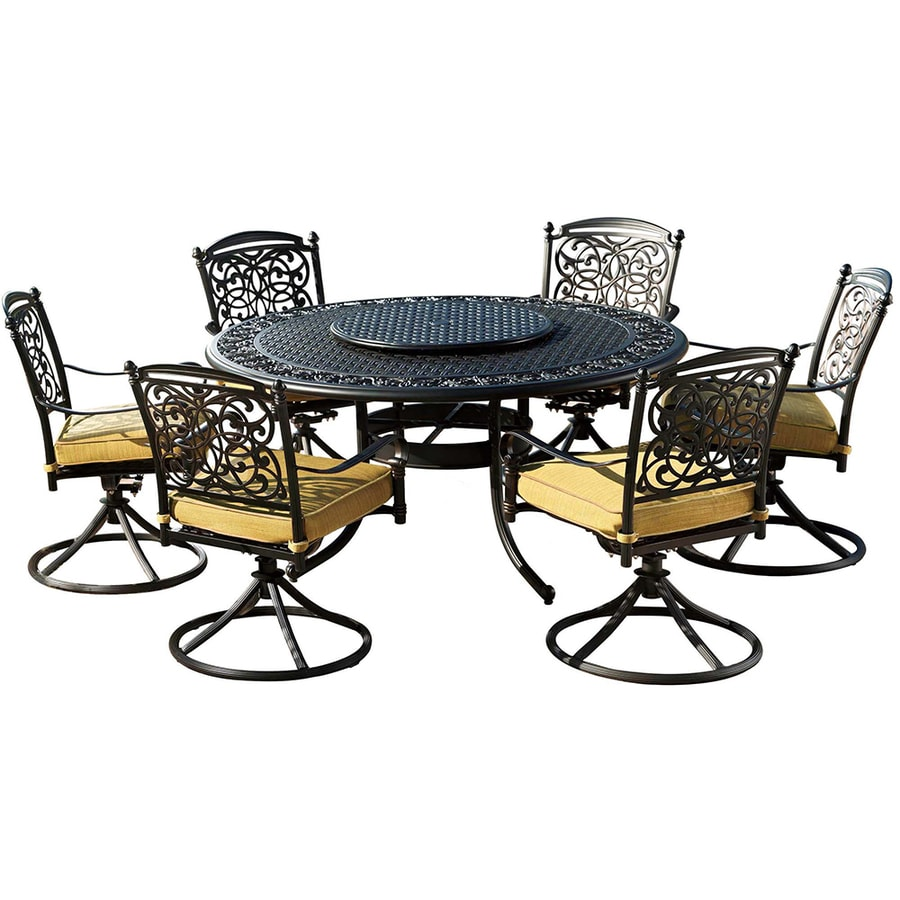 Shop Sunjoy 7 Piece Cast Aluminum Patio Dining Set At Lowescom