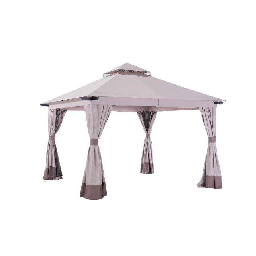 Sunjoy Santa Barbara Brown Steel Square Screened Gazebo (Exterior: 12.5-ft x 12.5-ft; Foundation: 12.5-ft x 12.5-ft)