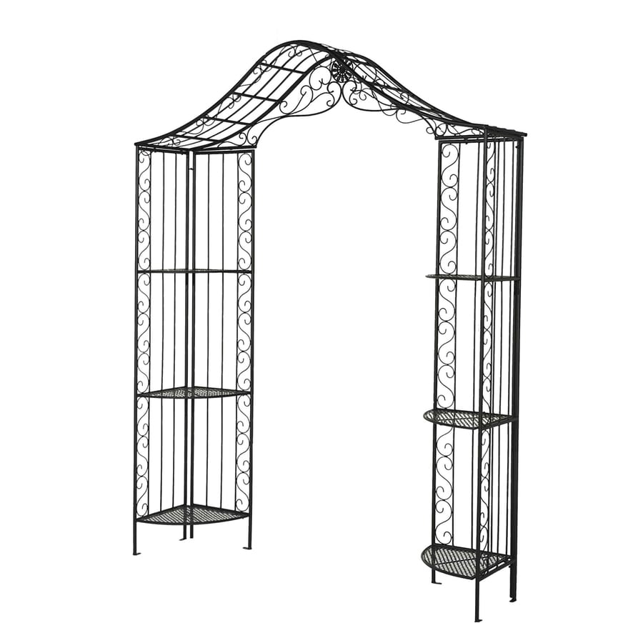 Sunjoy Powder-Coated Black Garden Arbor