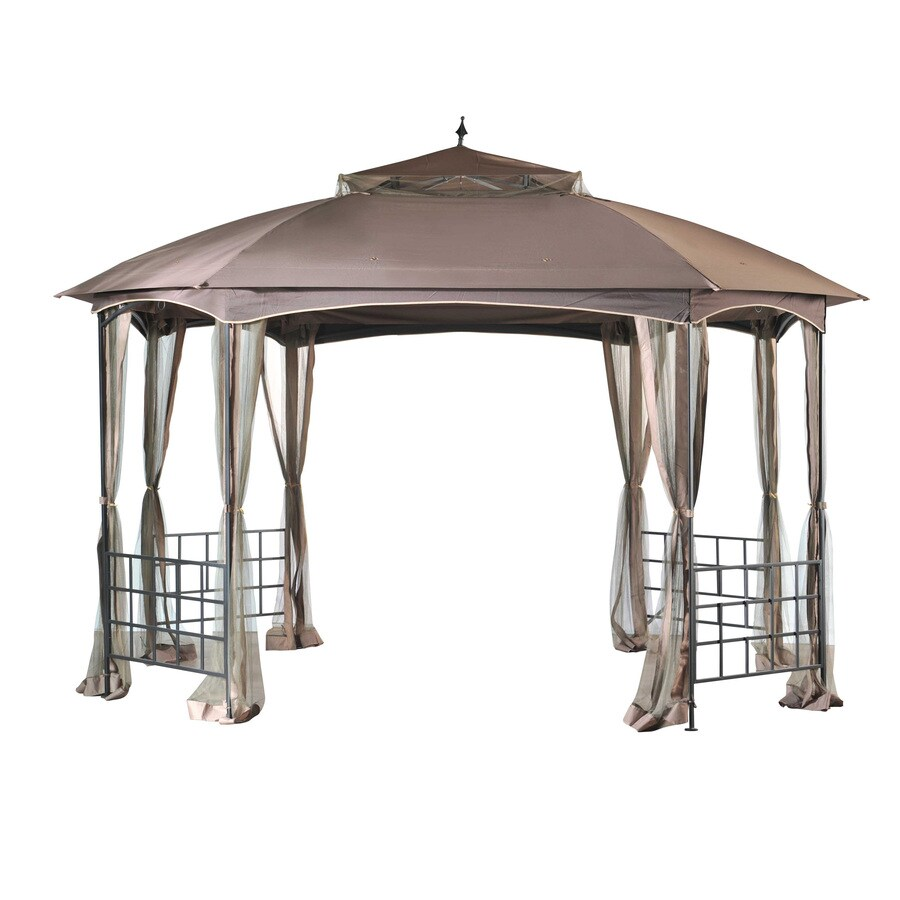 Shop sunjoy cardiff brown steel rectangle permanent gazebo exterior 11 ft x 13 ft foundation - Build rectangular gazebo guide models ...