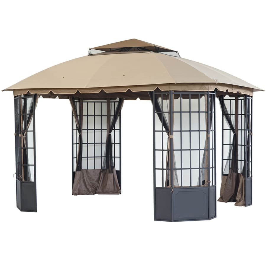 Shop sunjoy loden black steel rectangle permanent gazebo for Window zipper home depot