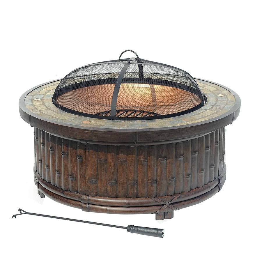 Sunjoy 36-in W Natural Wood Steel Wood-Burning Fire Pit
