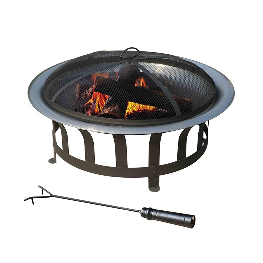 Sunjoy 30-in W Black Steel Wood-Burning Fire Pit