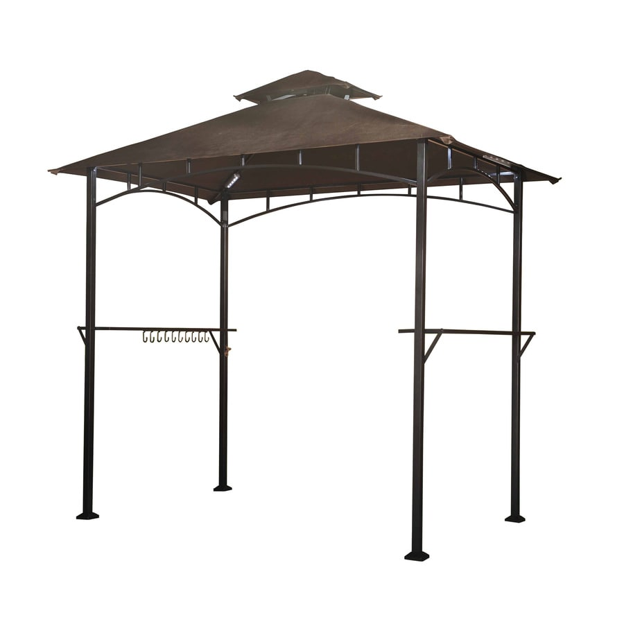 Shop Sunjoy Hacienda Black Steel Rectangle Grill Gazebo
