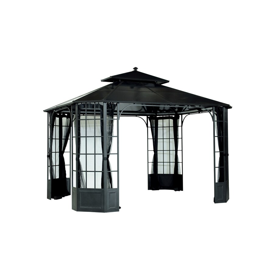 Sunjoy Black Steel Rectangle Permanent Gazebo (Exterior: 10-ft x 12-ft; Foundation: 10-ft x 12-ft)