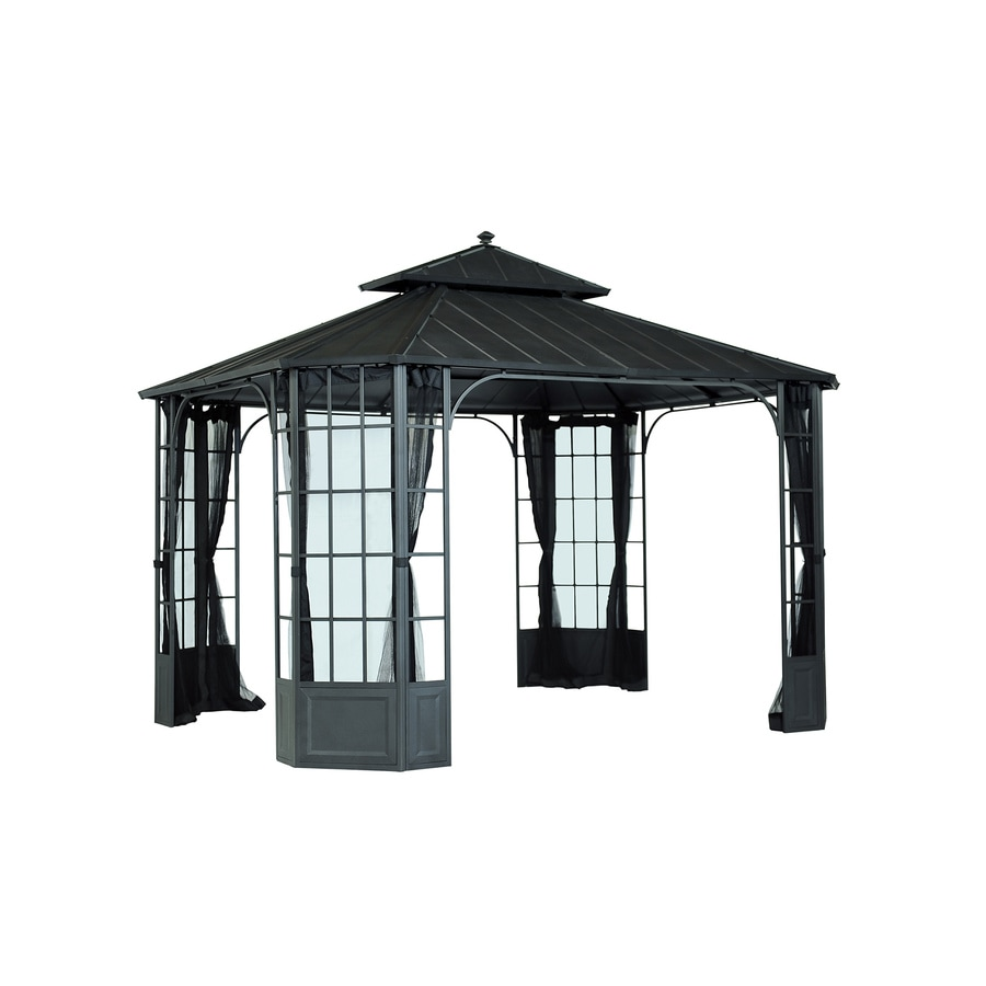 Shop sunjoy black steel rectangle permanent gazebo exterior 10 ft x 12 ft foundation 10 ft x - Build rectangular gazebo guide models ...