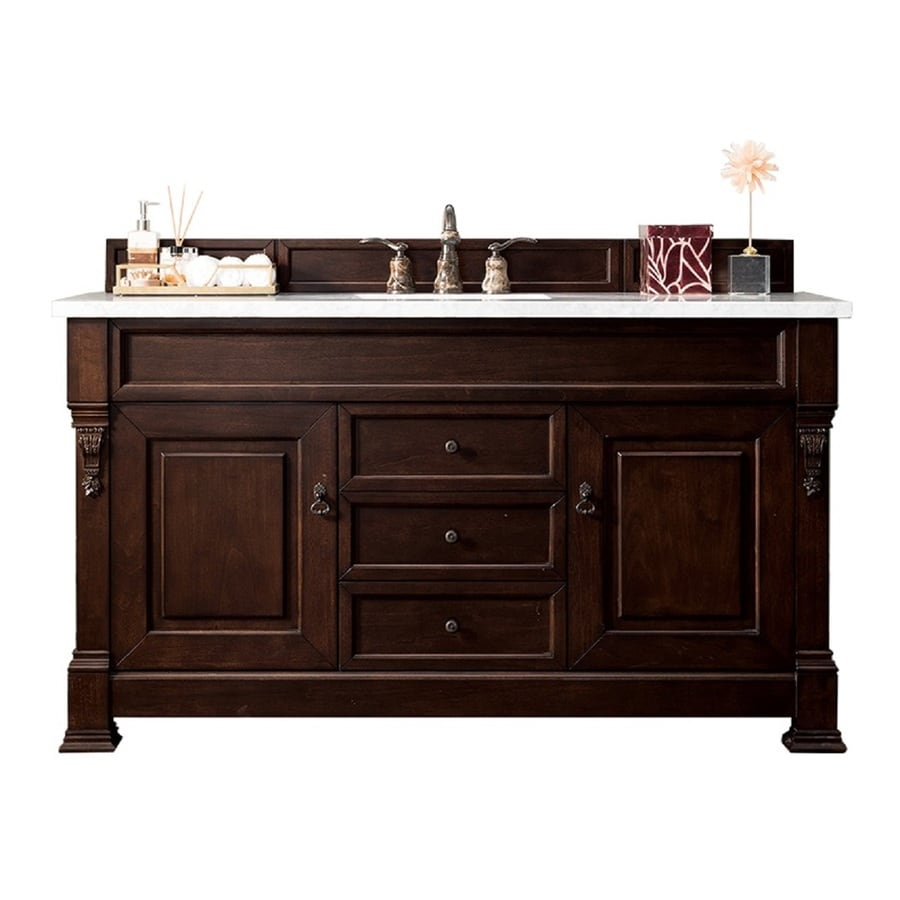 James Martin Vanities Brookfield 60 In Burnished Mahogany Undermount Single Sink Bathroom Vanity With Carrara White Marble Top In The Bathroom Vanities With Tops Department At Lowes Com
