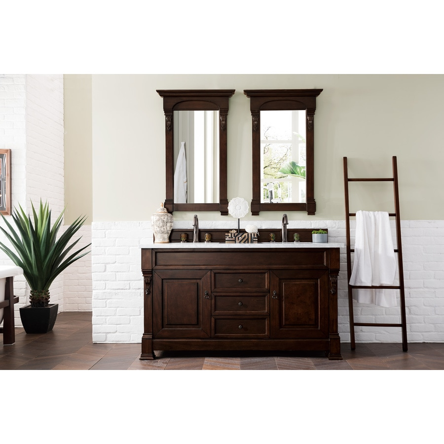 James Martin Vanities Brookfield 60 In Burnished Mahogany Undermount Double Sink Bathroom Vanity With Carrara White Marble Top In The Bathroom Vanities With Tops Department At Lowes Com