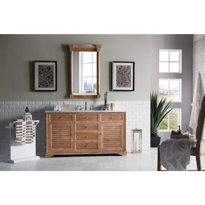 James Martin Vanities Savannah 60 In Driftwood Undermount Single Sink Bathroom Vanity With Carrara White Marble Top In The Bathroom Vanities With Tops Department At Lowes Com