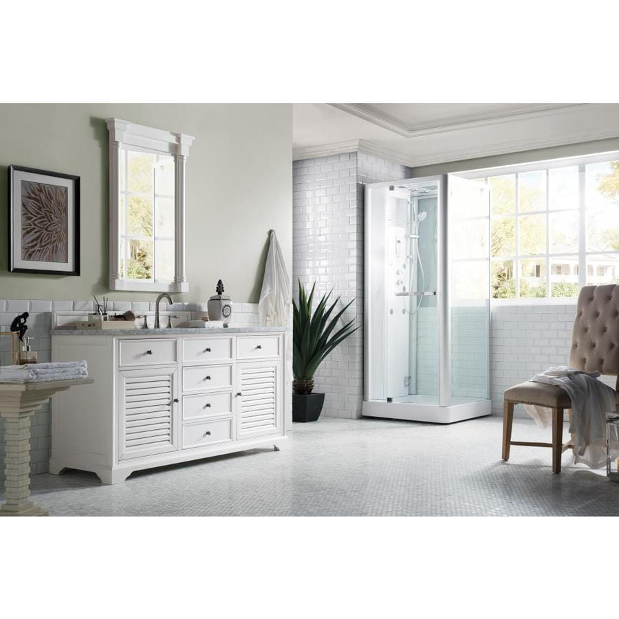 James Martin Vanities Savannah 60 In Cottage White Single Sink Bathroom Vanity With Carrara White Marble Top In The Bathroom Vanities With Tops Department At Lowes Com