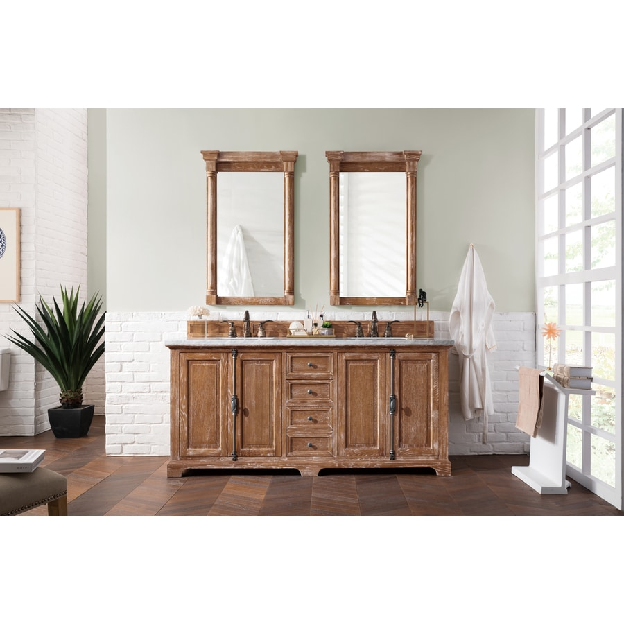 James Martin Vanities Providence 72 In Driftwood Undermount Double Sink Bathroom Vanity With Carrara White Marble Top In The Bathroom Vanities With Tops Department At Lowes Com