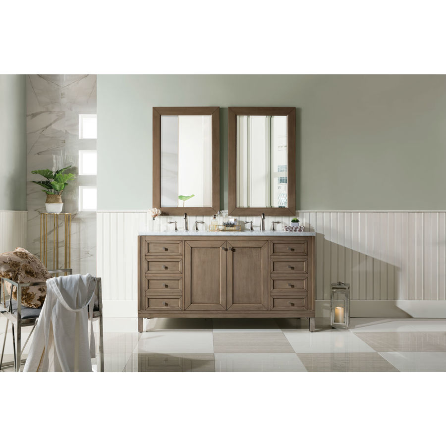 James Martin Vanities Chicago 60 In Whitewashed Walnut Undermount Double Sink Bathroom Vanity With Carrara White Marble Top In The Bathroom Vanities With Tops Department At Lowes Com