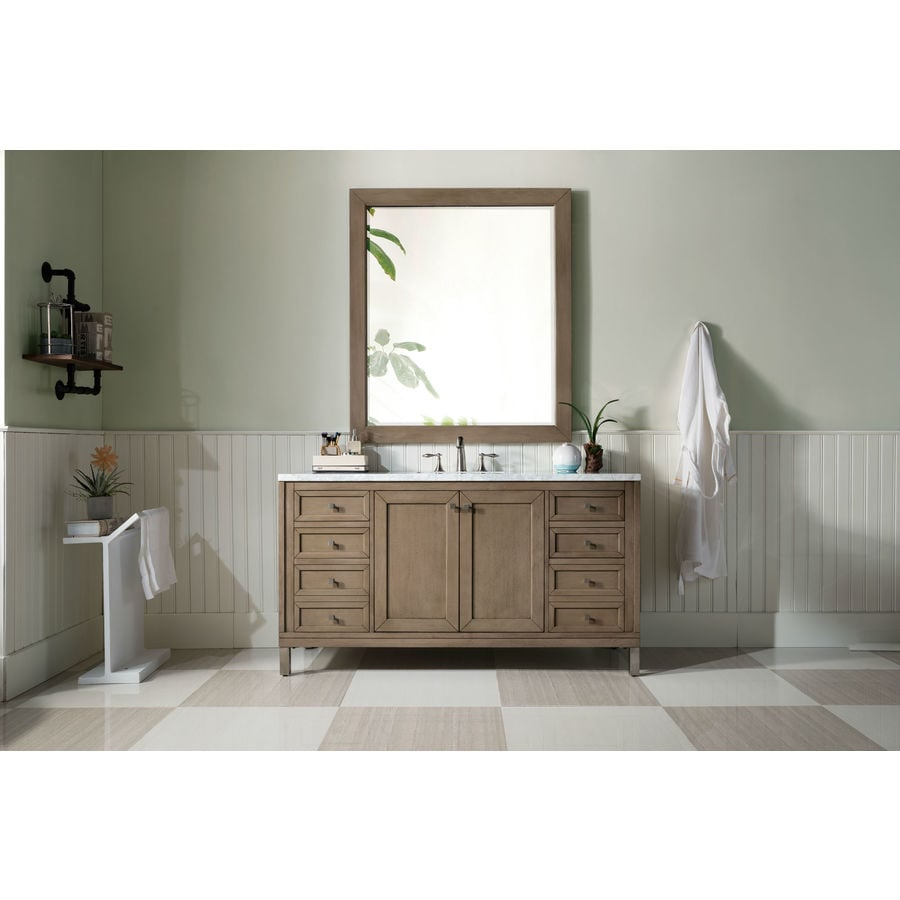 James Martin Vanities Chicago 60 In Whitewashed Walnut Undermount Single Sink Bathroom Vanity With Carrara White Marble Top In The Bathroom Vanities With Tops Department At Lowes Com