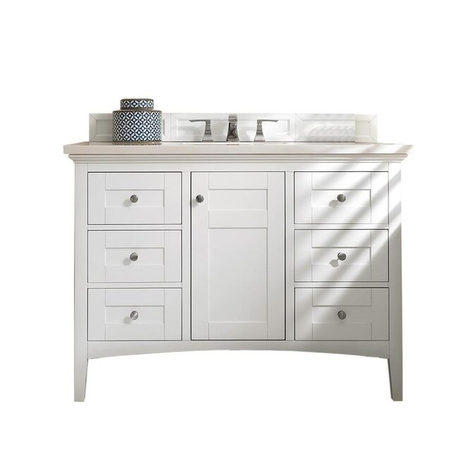 James Martin Vanities Palisades 48 In Bright White Single Sink Bathroom Vanity With Bright White