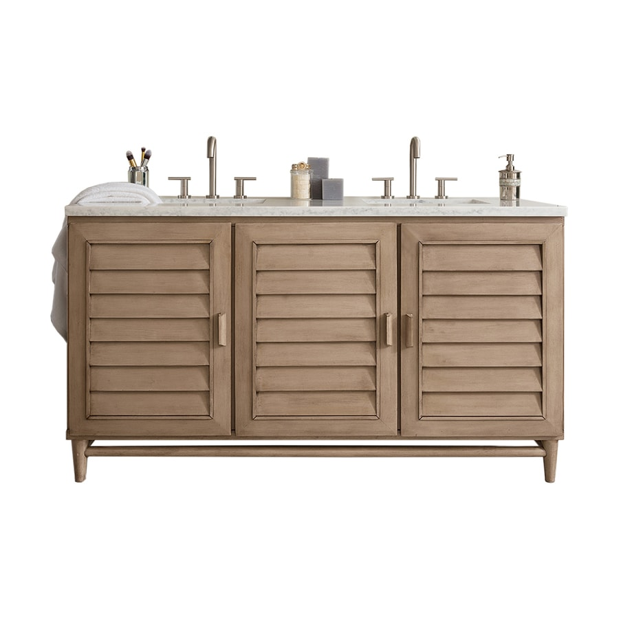 James Martin Vanities Portland 60 In Whitewashed Walnut Undermount Double Sink Bathroom Vanity With Carrara White Marble Top In The Bathroom Vanities With Tops Department At Lowes Com