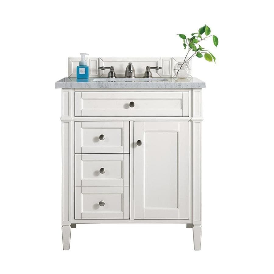 James Martin Vanities Brittany 30 In Cottage White Single Sink Bathroom Vanity With Carrara White Marble Top In The Bathroom Vanities With Tops Department At Lowes Com