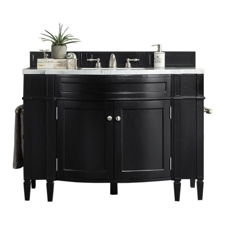 James Martin Vanities Brittany 46 In Black Onyx Undermount Single Sink Bathroom Vanity With Carrara White Marble Top In The Bathroom Vanities With Tops Department At Lowes Com
