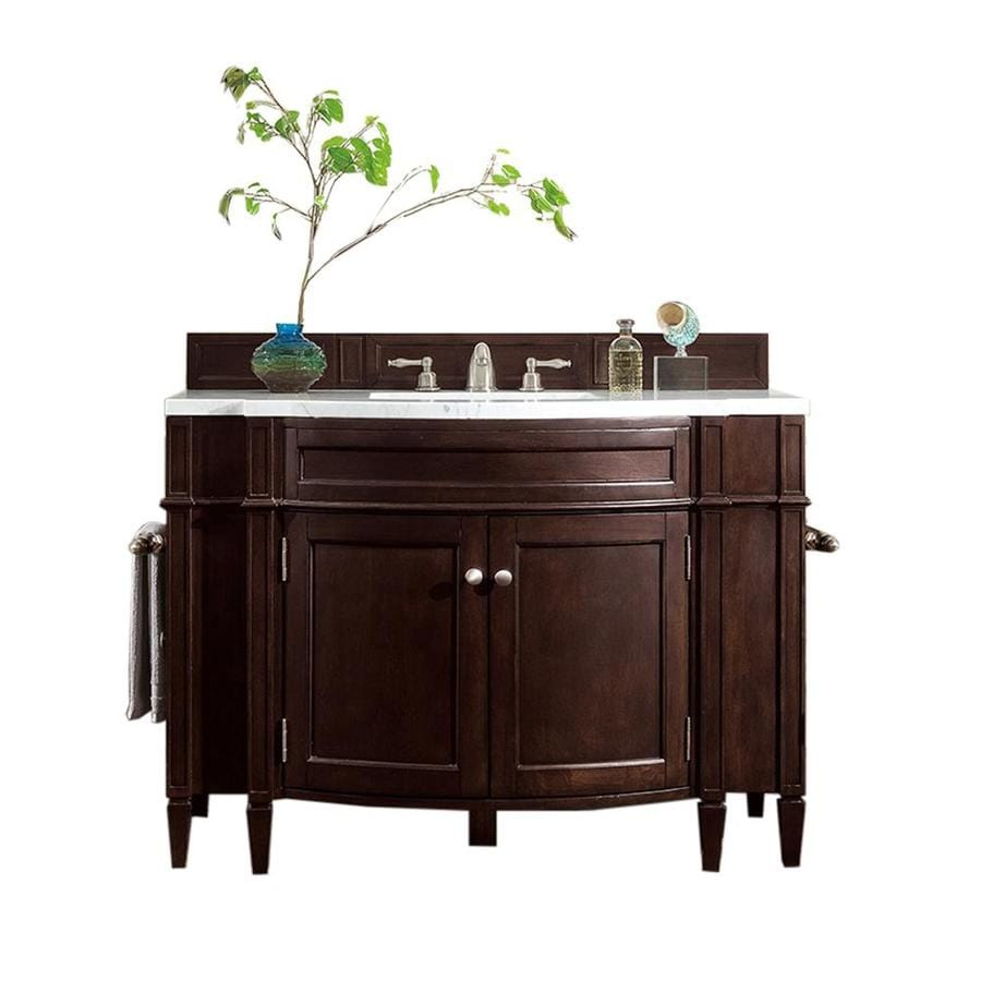 James Martin Vanities Brittany 46 In Burnished Mahogany Undermount Single Sink Bathroom Vanity With Carrara White Marble Top In The Bathroom Vanities With Tops Department At Lowes Com