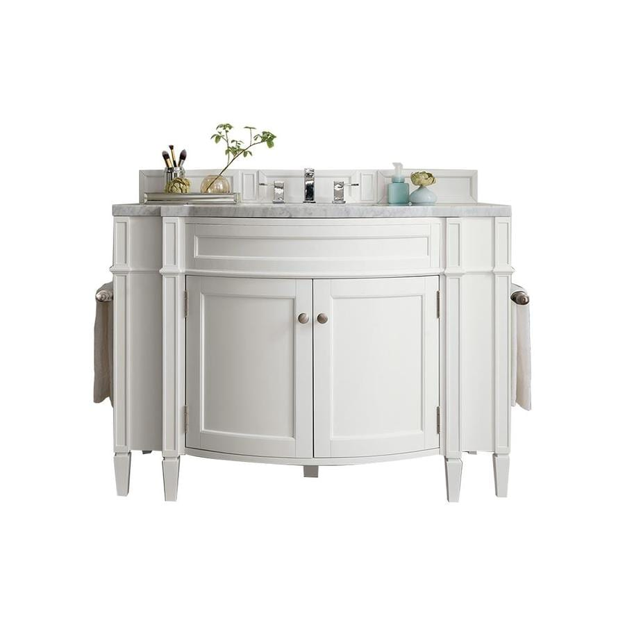 James Martin Vanities Brittany 46 In Cottage White Undermount Single Sink Bathroom Vanity With Carrara White Marble Top In The Bathroom Vanities With Tops Department At Lowes Com