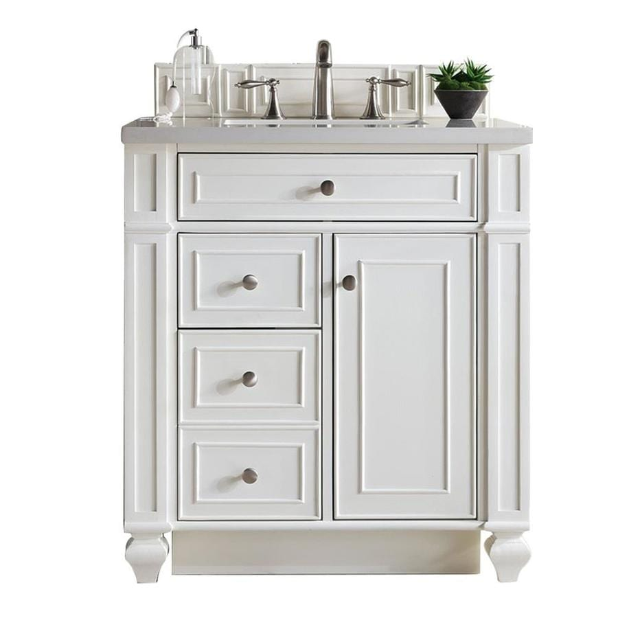 James Martin Vanities Bristol 30 In Cottage White Undermount Single Sink Bathroom Vanity With Classic White Quartz Top In The Bathroom Vanities With Tops Department At Lowes Com