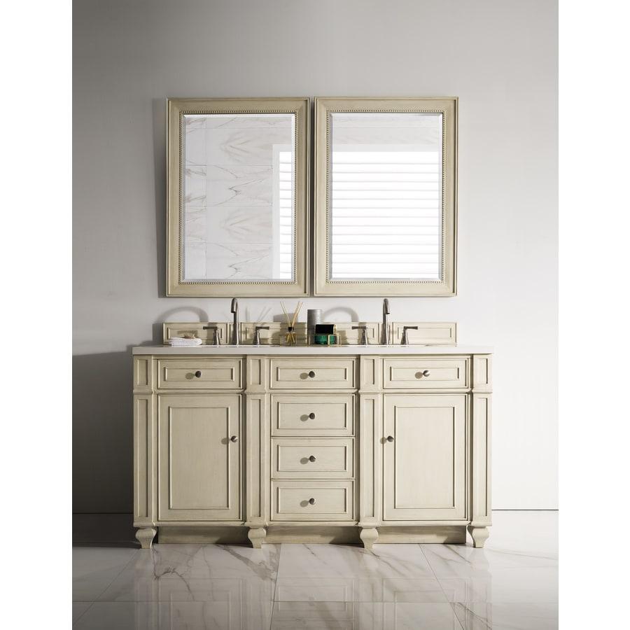 James Martin Vanities Bristol 60 In Vintage Vanilla Double Sink Bathroom Vanity With Classic White Quartz Top In The Bathroom Vanities With Tops Department At Lowes Com