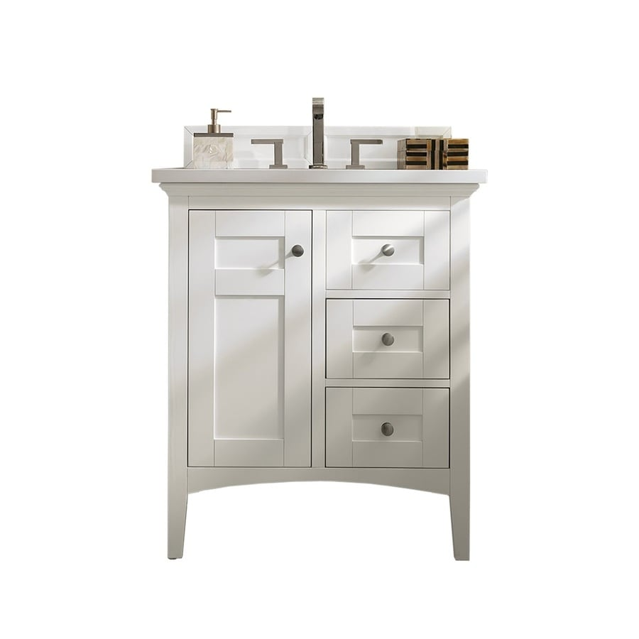 James Martin Vanities Palisades 30 In Bright White Undermount Single Sink Bathroom Vanity With Classic White Quartz Top In The Bathroom Vanities With Tops Department At Lowes Com