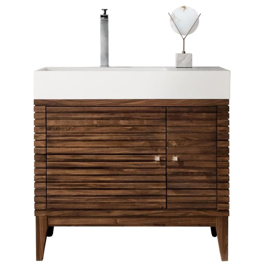 James Martin Vanities Linear 36 In Mid Century Walnut Single Sink Bathroom Vanity With Matte White Solid Surface Top In The Bathroom Vanities With Tops Department At Lowes Com