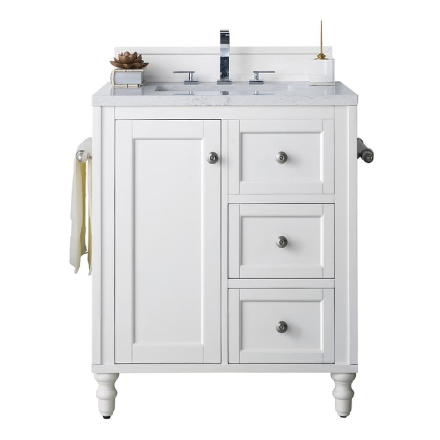 James Martin Vanities Copper Cove Encore 30 In Bright White Undermount Single Sink Bathroom Vanity With Eternal Jasmine Pearl Quartz Top In The Bathroom Vanities With Tops Department At Lowes Com