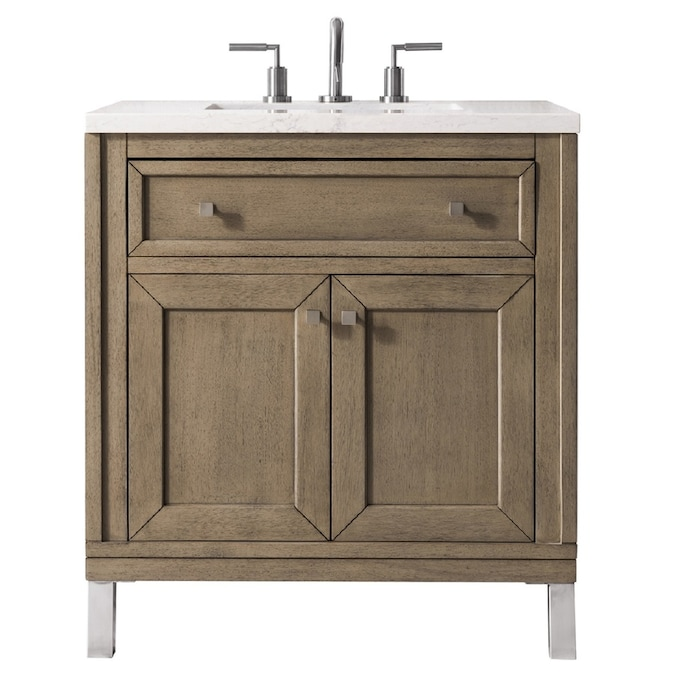 James Martin Vanities Chicago 30 In Whitewashed Walnut Single Sink Bathroom Vanity With Eternal Jasmine Pearl Quartz Top In The Bathroom Vanities With Tops Department At Lowes Com